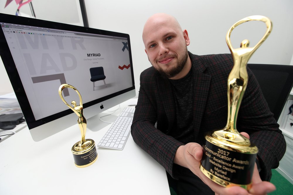 Hot off the press: Featured in @ExpressandStar for our 2 @commawards Golds for #Myriad #Website for @Boss_Design!  http:// bareface.link/eamps  &nbsp;  <br>http://pic.twitter.com/64pFIoU1sy