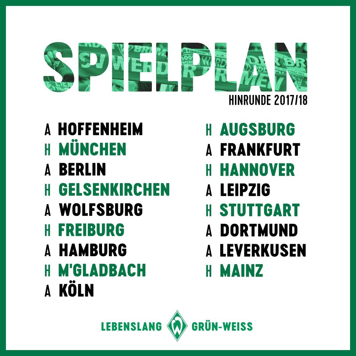 Unser #Spielplan. 📅 #Werder #Bundesliga https://t.co/sdjqGUqrcd