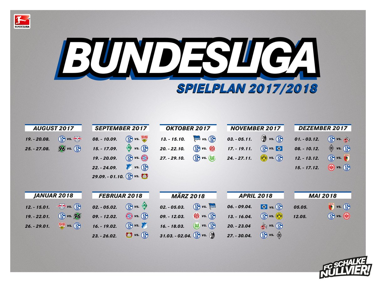 🗓️ Der #S04-#Spielplan für die Saison 2017/18 im Überblick. https://t....