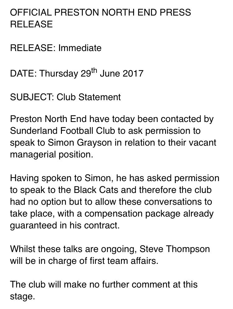 #PNEFC confirm #SAFC have asked permission to speak to Simon Grayson a...