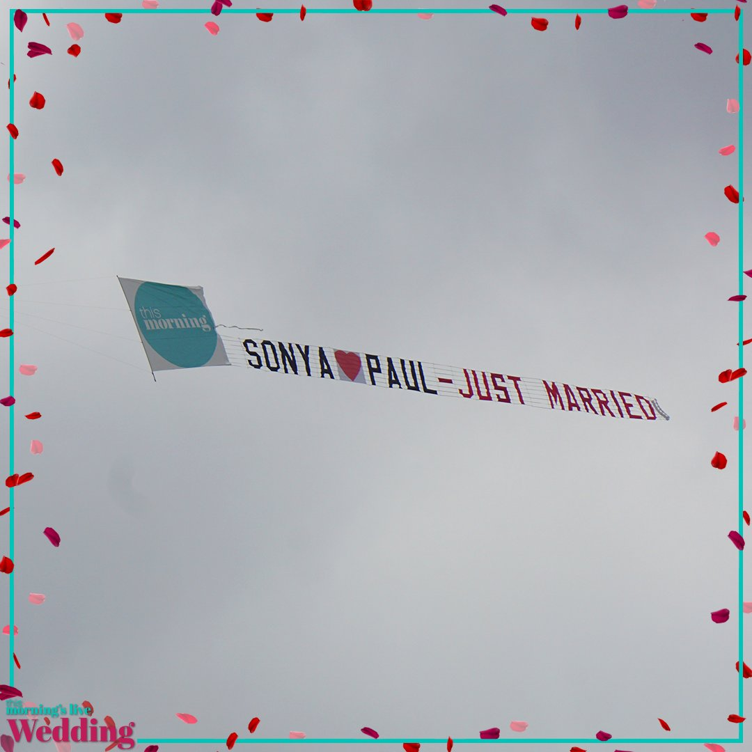 It's plane ✈️ to see... Sonya and Paul are just married! #TMWedding ht...