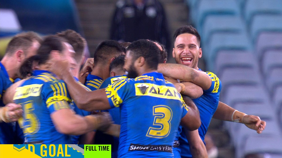 MITCHELL MOSES!!  A field goal in extra time to sink the Dogs!  #NRLEe...