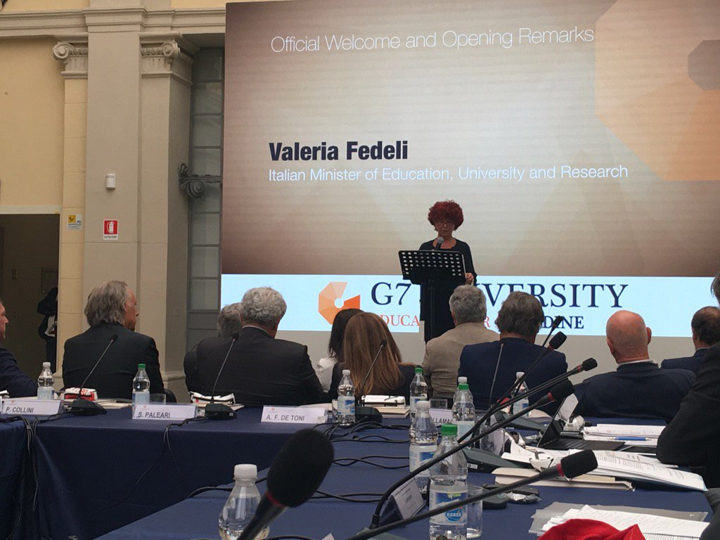 La Ministra Fedeli inaugura il G7 University Education for All ad Udin...