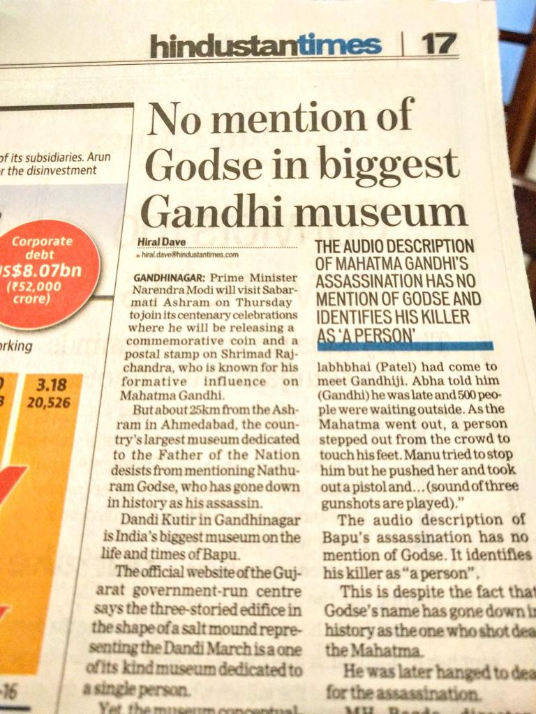 Godse gone? #BJP &#39;s &#39;mission re-write Indian history&#39; to paint a positive, productive, contributive role... <br>http://pic.twitter.com/ZbghdtrMAU
