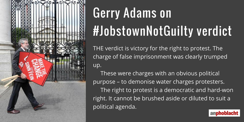 .@GerryAdamsSF welcomes #JobstownNotGuilty verdict as 'a victory for t...