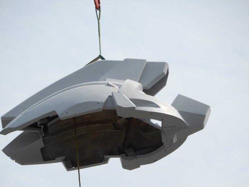 実物大ユニコーンガンダム立像、頭頂部の装甲('д')