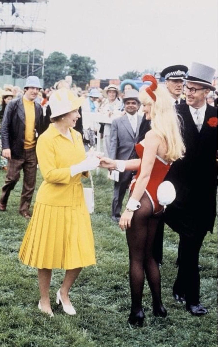 1978: Queen Elizabeth II, YES THAT ONE, greets a Playboy Bunny at the...