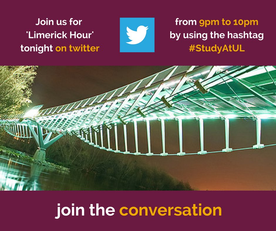Join @UL on Twitter tonight 9-10pm for @LimerickHour #StudyatUL #CAO #ChangeofMind #College<br>http://pic.twitter.com/dRbpZm7oU8