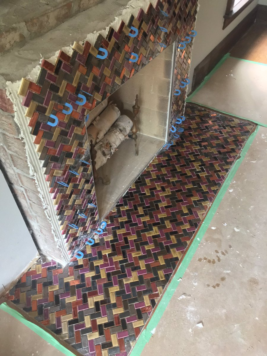 Tile By Christopher On Twitter Custom Fireplace Grout And Redo