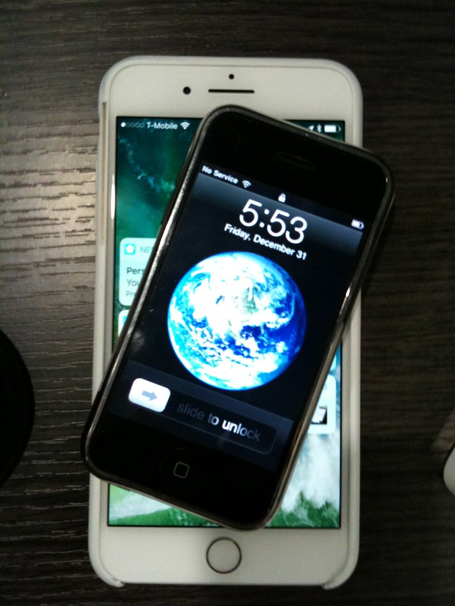 """Paul Colton on Twitter: """"Here's my iPhone 1 sitting on top of my iPhone 7  Plus. Photo taken with an iPhone 3GS. #iPhoneAt10 #iPhone… """""""