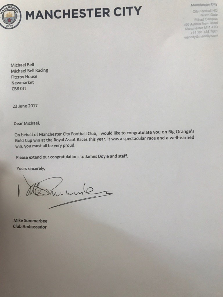 Thanks @ManCity for the letter about Big