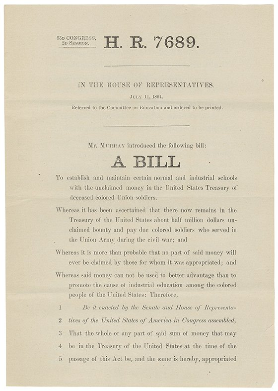 This bill to use unclaimed #CivilWar salaries for African-American schools was introduced #OTD 1894. #RecordsSearch https://t.co/S0ucBq6FeU https://t.co/ze901OdFgv