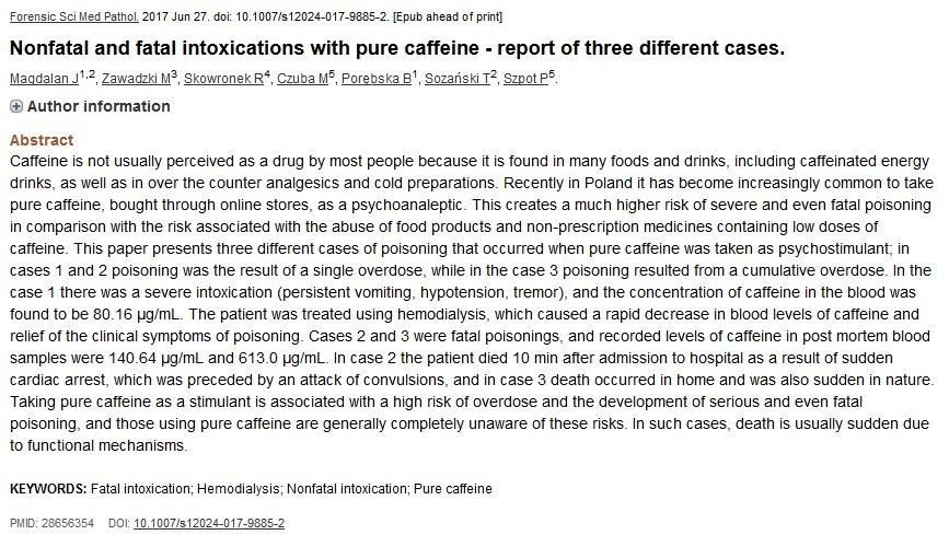 Neuroskeptic On Twitter A Case Of Fatal Caffeine Poisoning