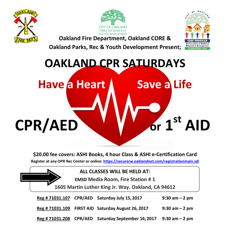 Oakland Parks Rec On Twitter Thanks 2 U Cpr Saturday Is A
