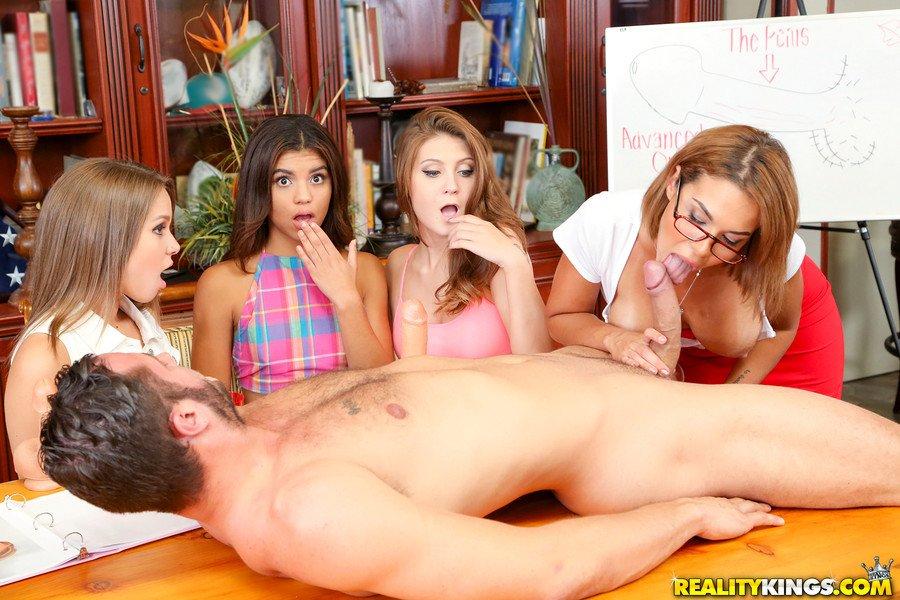 4 girls 1 guy having sex