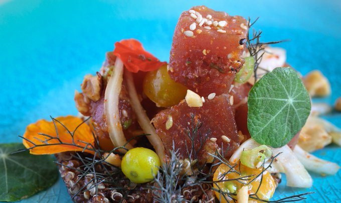 Ahi Poke with Quinoa and Heirloom Tomatoes Recipe