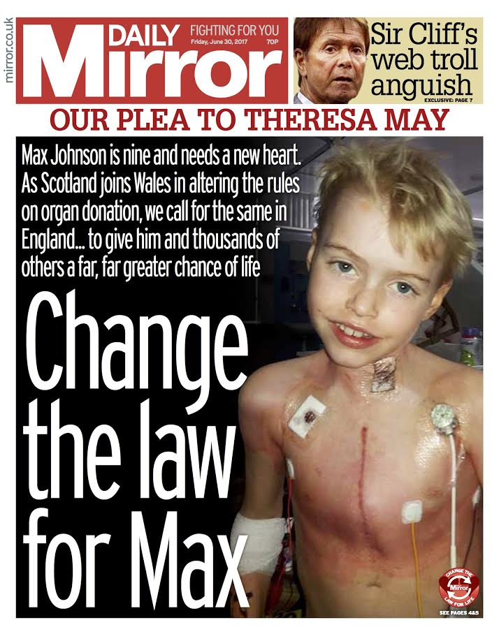 Tomorrow's front page: Change the law for Max #OptOut #TomorrowsPaperToday https://t.co/BteiZmrQzF