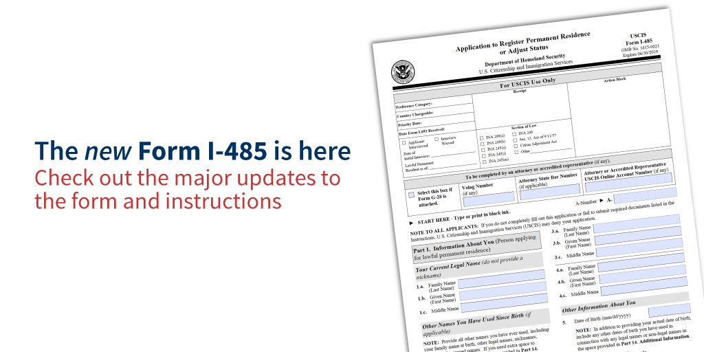 Uscis On Twitter Our Newest Form I 485 Has Arrived Check Out The