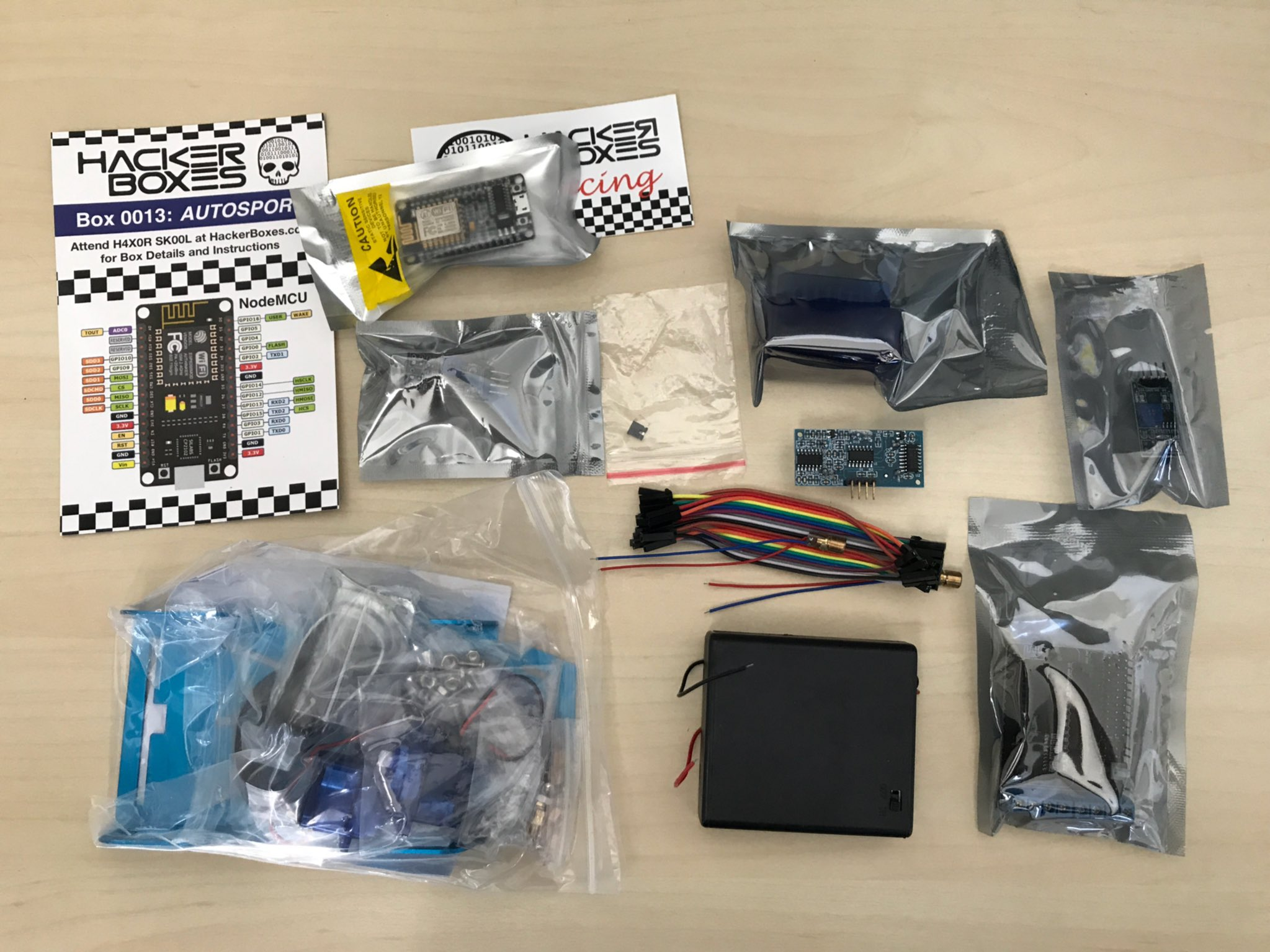 Contents of the HackerBox Autosport kit