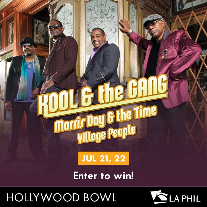 #RT #Win 2 Tickets Kool & The Gang @HollywoodBowl Friday July 21st w/ #MorrisDayAndTheTime https://t.co/HSyEQLKwYw https://t.co/YB2gG501EC
