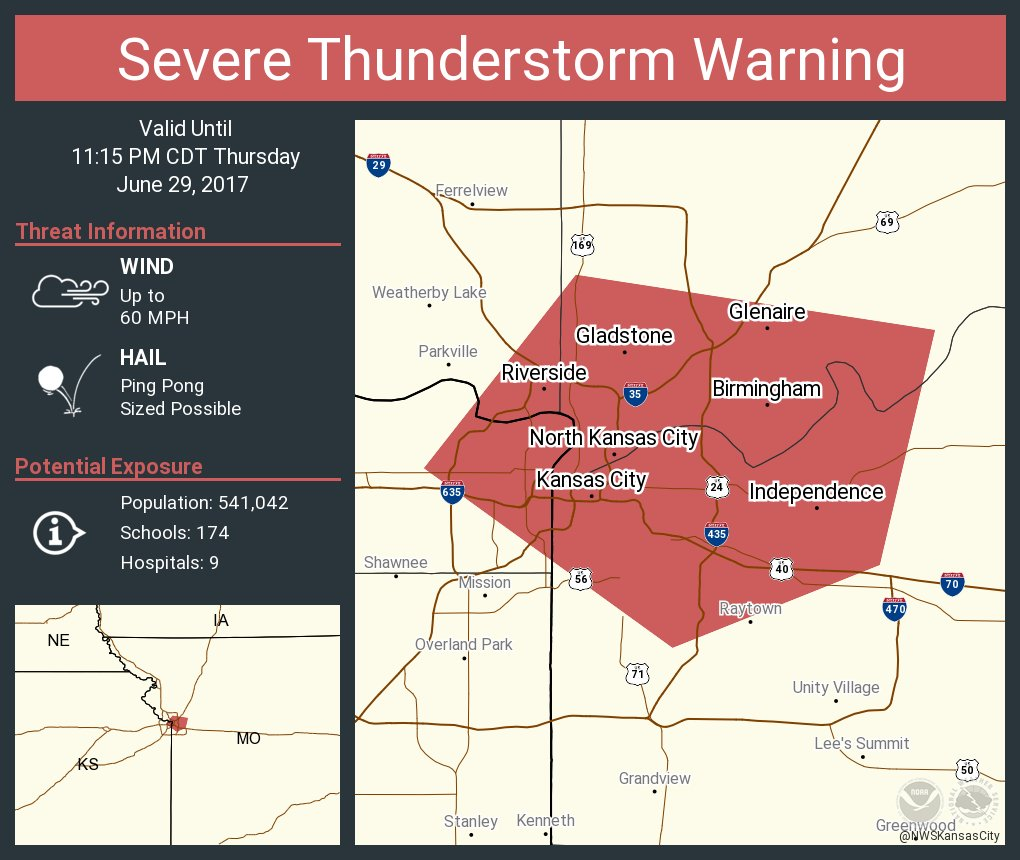 NWS Kansas City on Twitter Severe Thunderstorm Warning including