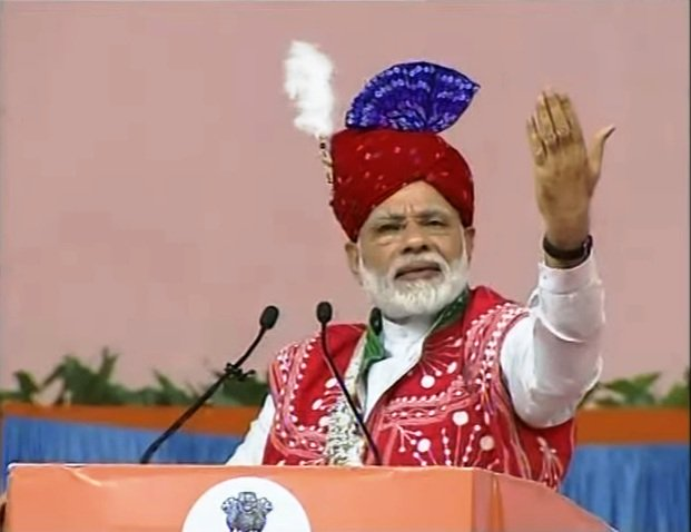 Entire river lifted to 55-storey building height to supply water to you: PM Modi at Modasa
