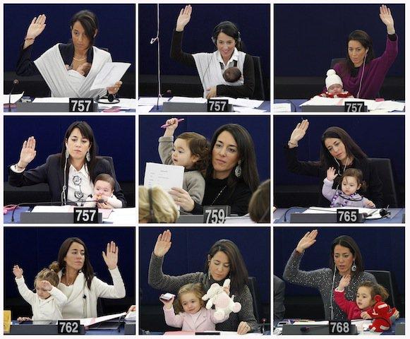 金子政務官が公用車で議員会館の保育所に子供を連れて行くと公私混同だと叩かれ「公用車に子どもを乗せない」という結果になった一方で、欧州議会ではリチア・ロンズーリ議員が産後から子連れで出席し、その子はもうこんなに大きくなっている。