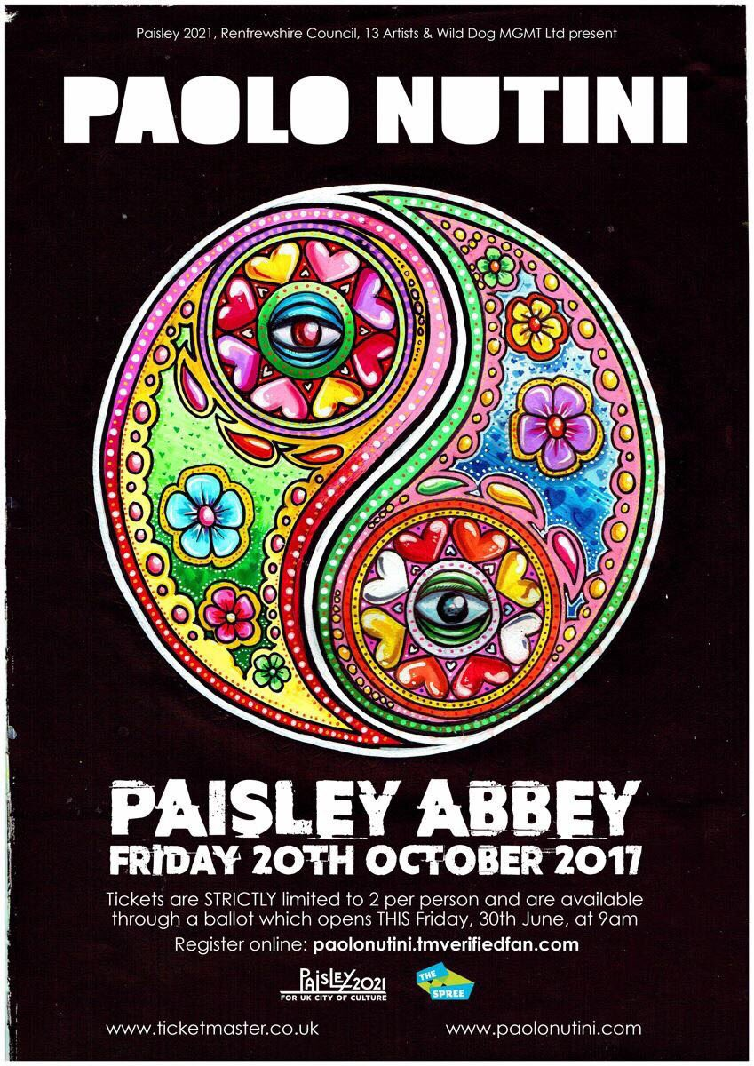 The ticket ballot for Paolos Paisley Abbey show is now open ... paolonutini.tmverifiedfan.com
