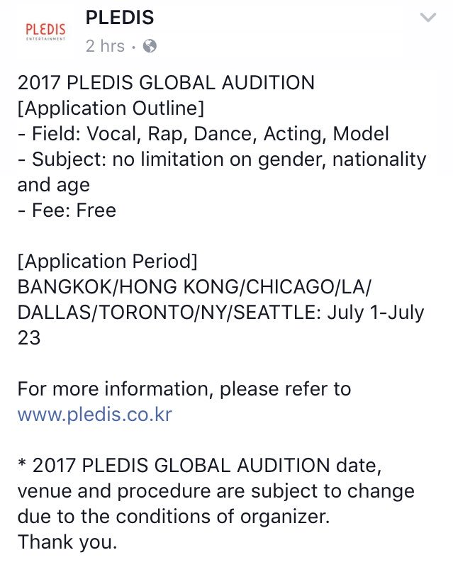 "🐳 On Twitter: ""2017 Pledis Global Audition - Field: Vocal, Rap"