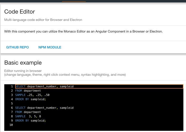 Monaco Editor Angular Example