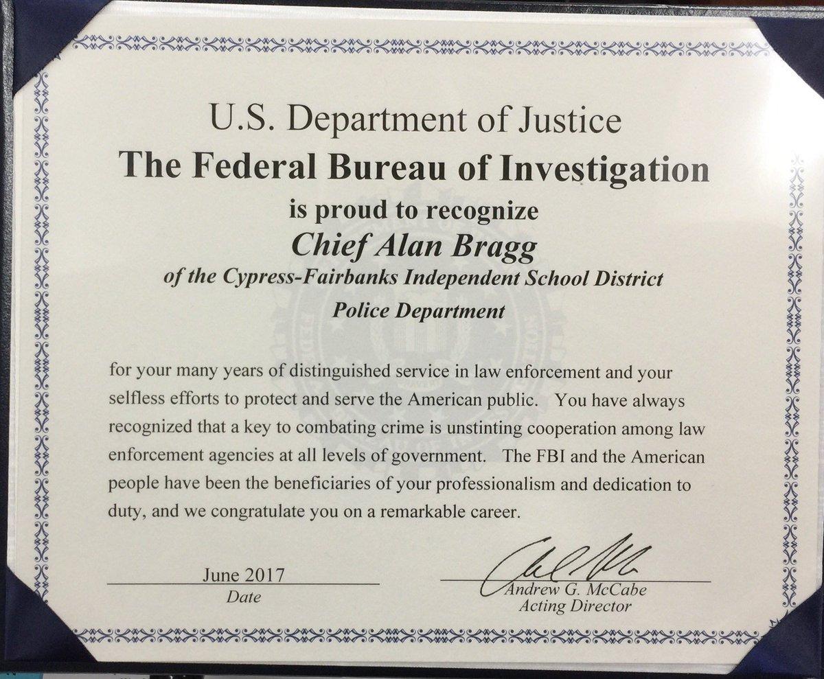 Certificate of appreciation law school image collections cfisd police dept on twitter fbi houston asac mike anderson cfisd police dept on twitter fbi aiddatafo Gallery