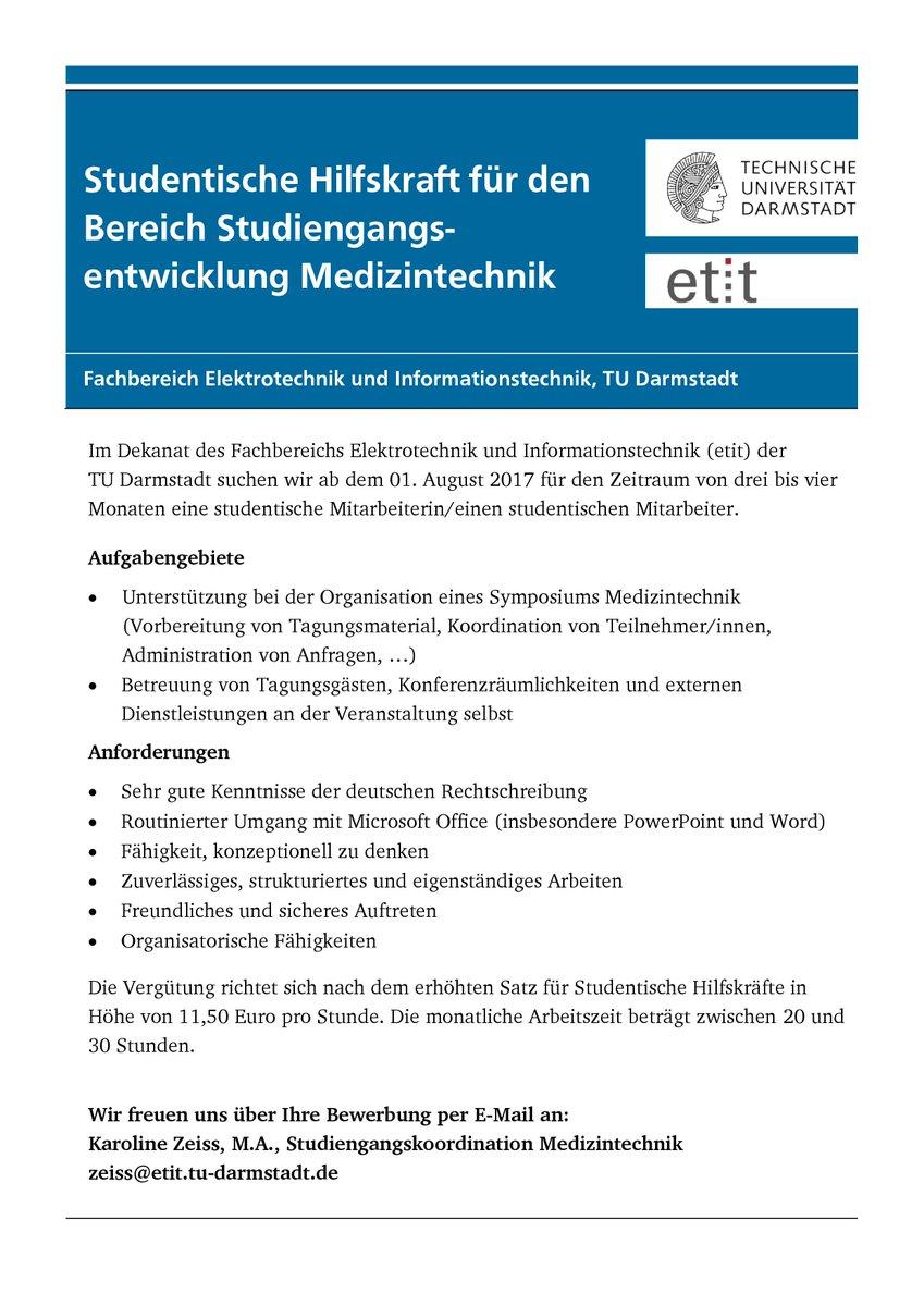 """etit TU Darmstadt on Twitter: """"#Hiwi für Studiengangsentwicklung  #Medizintechnik gesucht. Bewerbung und Info: zeiss@etit.tu-darmstadt.de… """""""