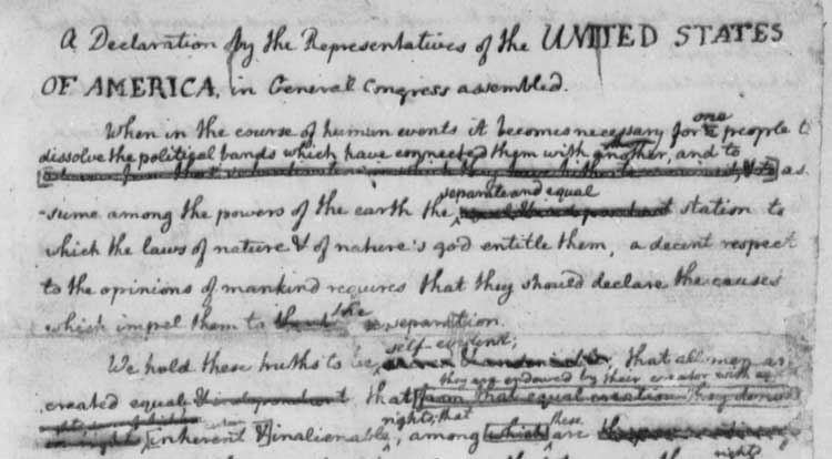 It's Independence Day! Here's  Jefferson's rough draft of the Declaration of Independence, filled with copy-edits: https://t.co/JYjKJObXOk https://t.co/0TYi8h2tdg