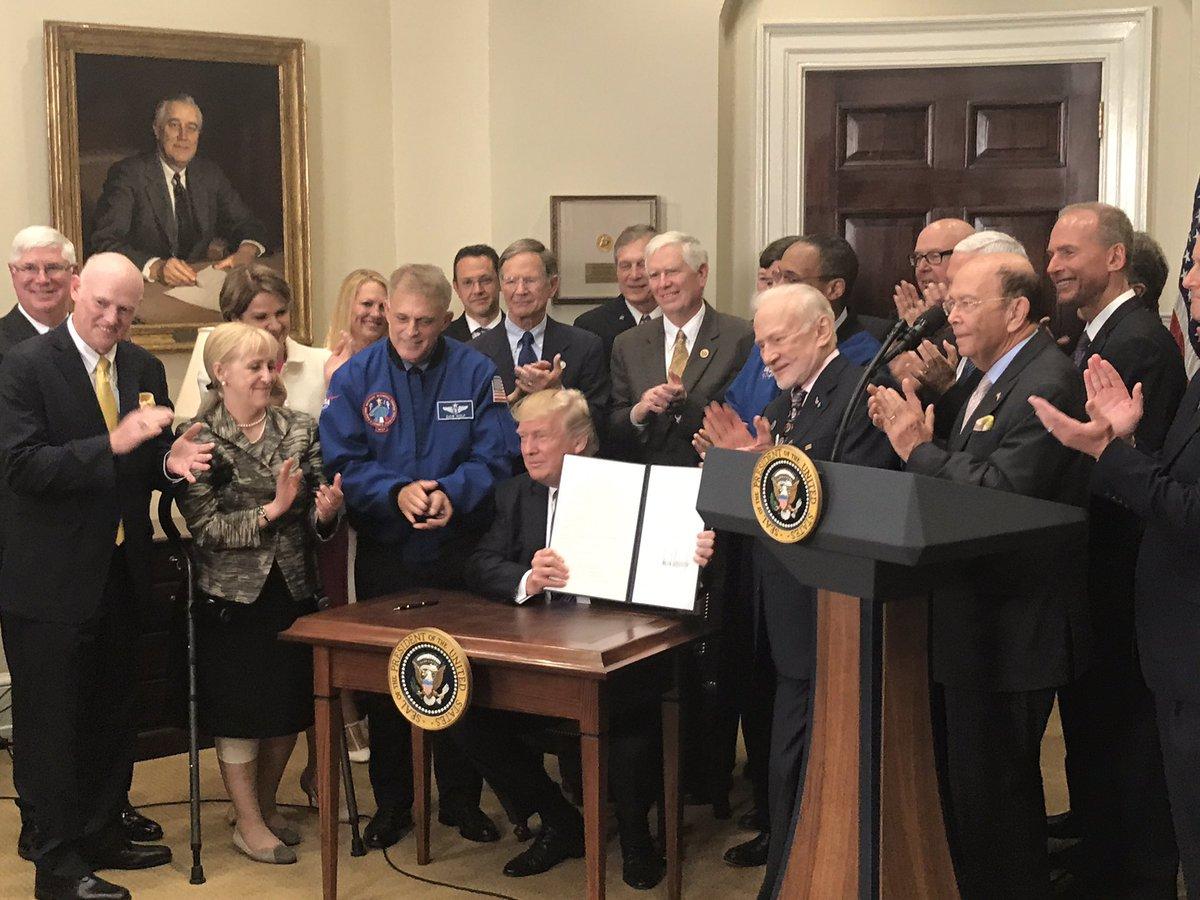 Hasil gambar untuk President Trump relaunched the National Space Council
