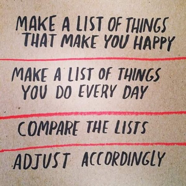 action for happiness on twitter make a list of things that make