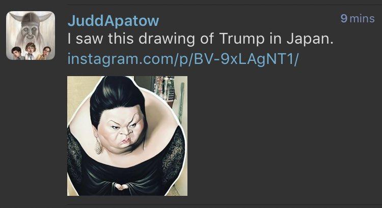 アパトー先生、日本に来てるんですね。あと、それトランプの風刺画じゃないです。そういう人いるんです日本に https://t.co/Ak9lB9hBrV