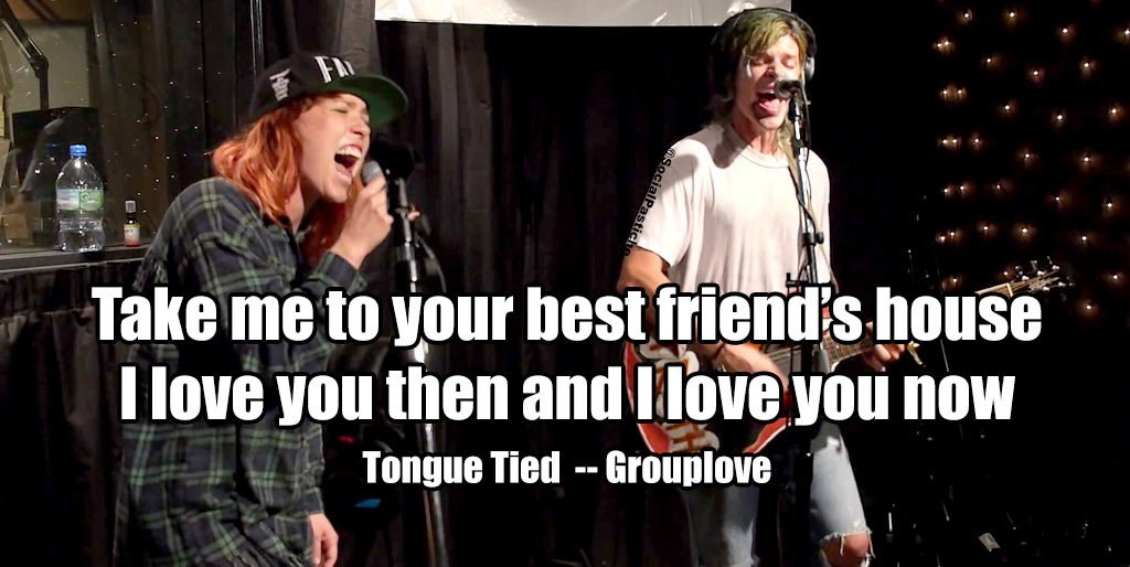 Don't leave me tongue tied! Don't wave no goodbye! Don't leave me tongue tied! Don't!!! #GroupLove #TongueTied #IndieRock #IndiePop #PopRock