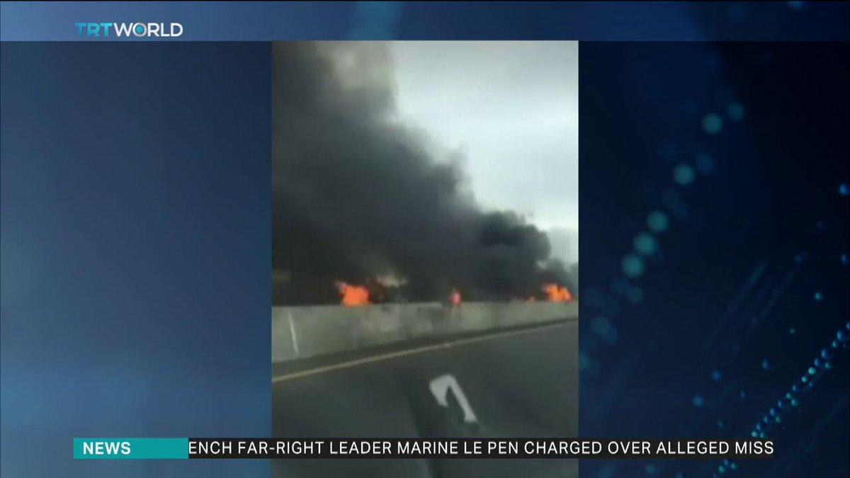 Small Plane Crashes on California's 405 Freeway | Baaz