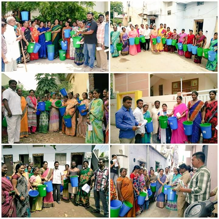 #Corporators of Concerned Division&#39;s distributing #BLUE  #GREEN  bins to reach every household of town.#Segregation Municipal staff,NZB.<br>http://pic.twitter.com/PBDgQY1RQ2