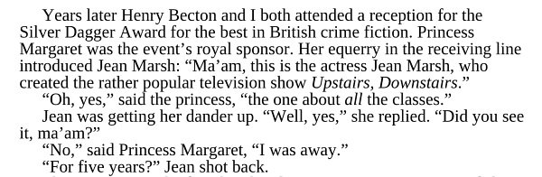 Happy 83rd Birthday to Jean Marsh today. Please enjoy a quote about her giving shit to Princess Margaret: