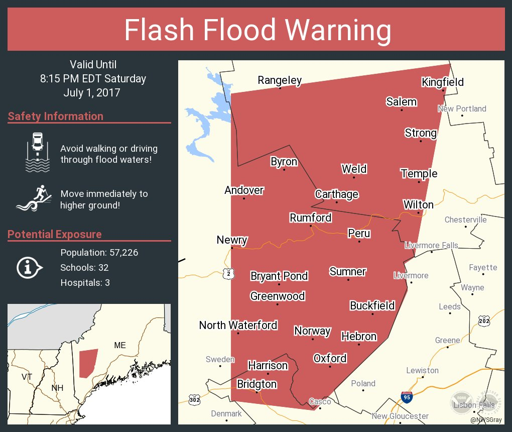 South Paris Maine Map.Nws Gray On Twitter Flash Flood Warning Including Rumford Me
