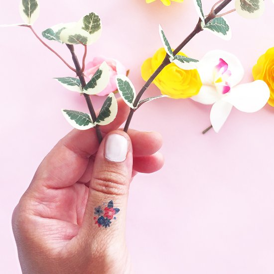 DIY Mini July 4th Floral Tattoos