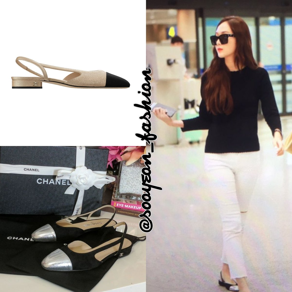 c519be1f22aa 170702 Jessica Jung   Incheon Airport CHANEL  Two Tone Slingback Flats  (Black Silver)