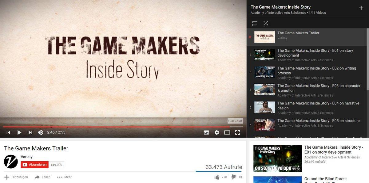 #TVTipp: Die 10-teilige Serie @TheGameMakersTV von @jenniekong über #Storytelling in #Games youtube.com/watch?v=CwsRfu…