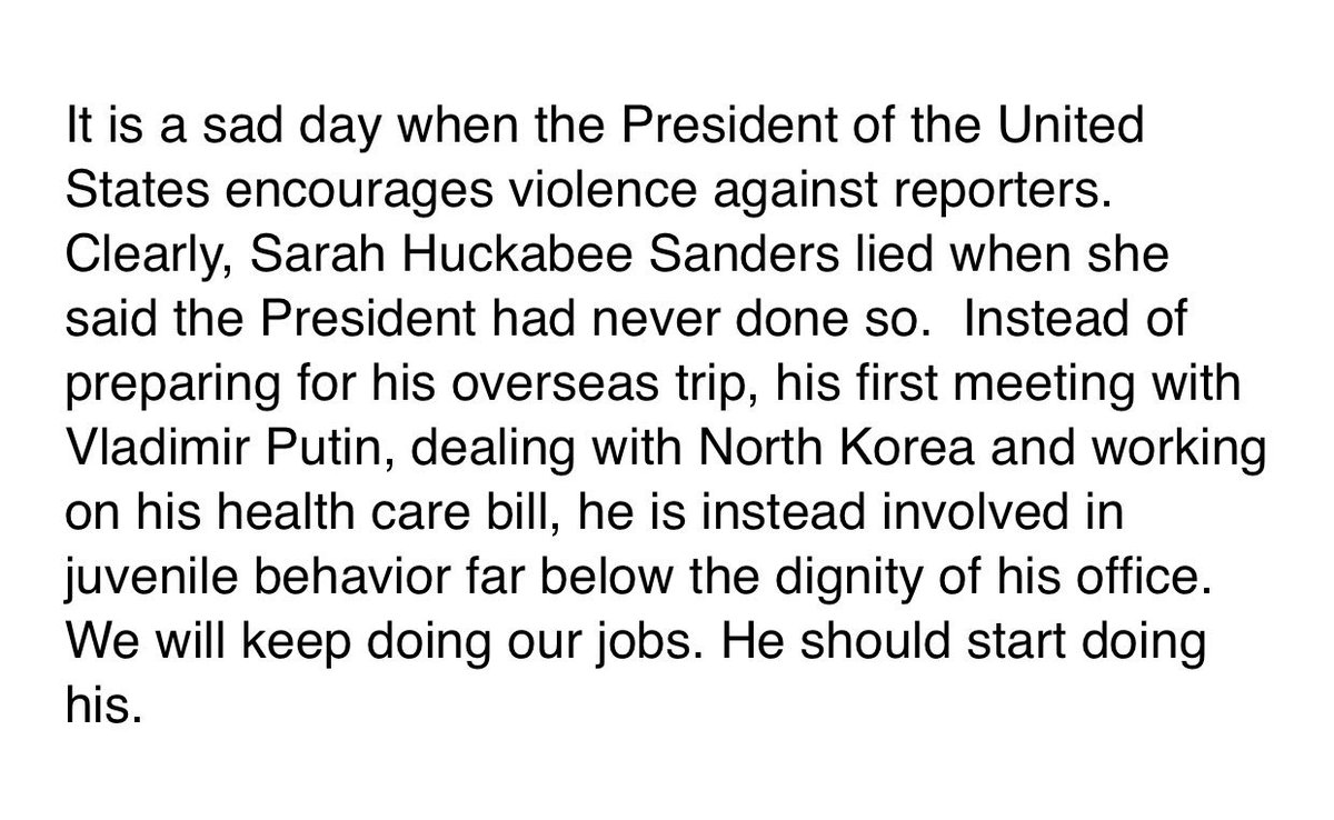 CNN statement responding to the president: 'We will keep doing our jobs. He should start doing his.'