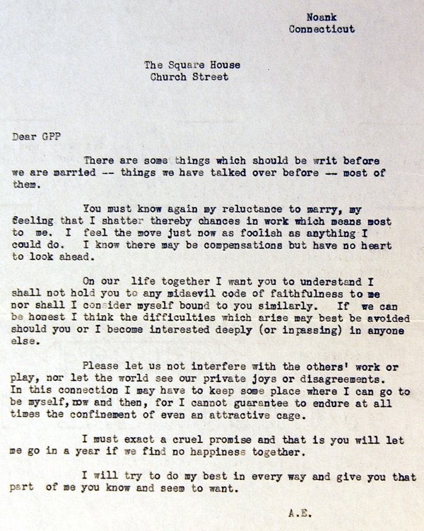 Amelia Earhart's highly unsentimental prenuptial letter to fiance George Putnam, 1931: https://t.co/gSH3y4SI2w