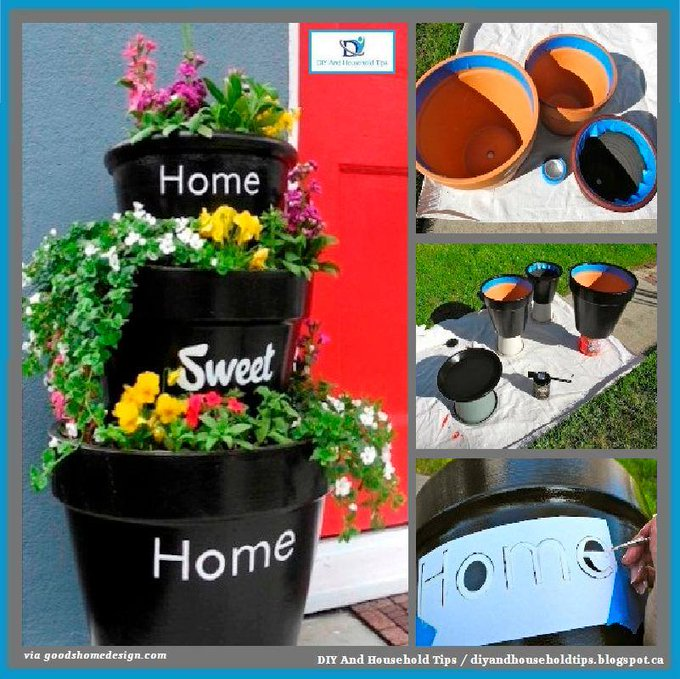 "DIY ""Home Sweet Home"" Stacked Planters"