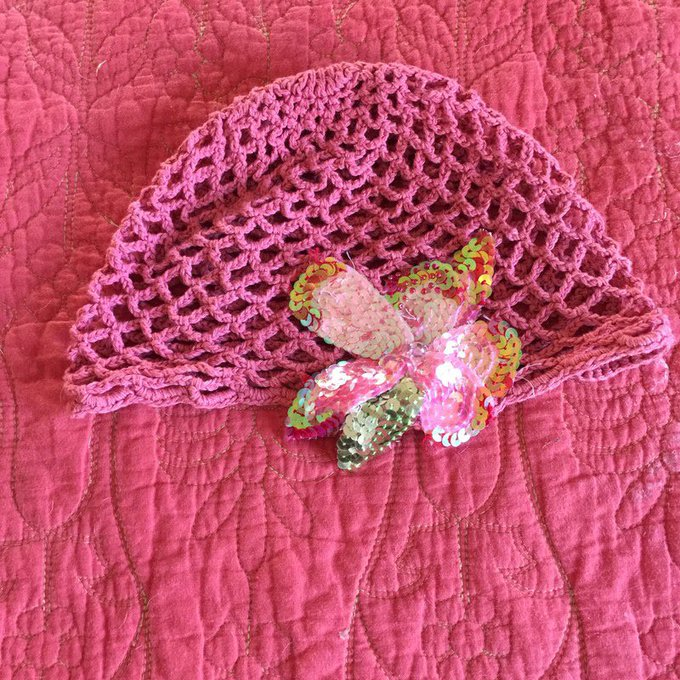 Urban Outfitters Sequin Flower Knit Cap
