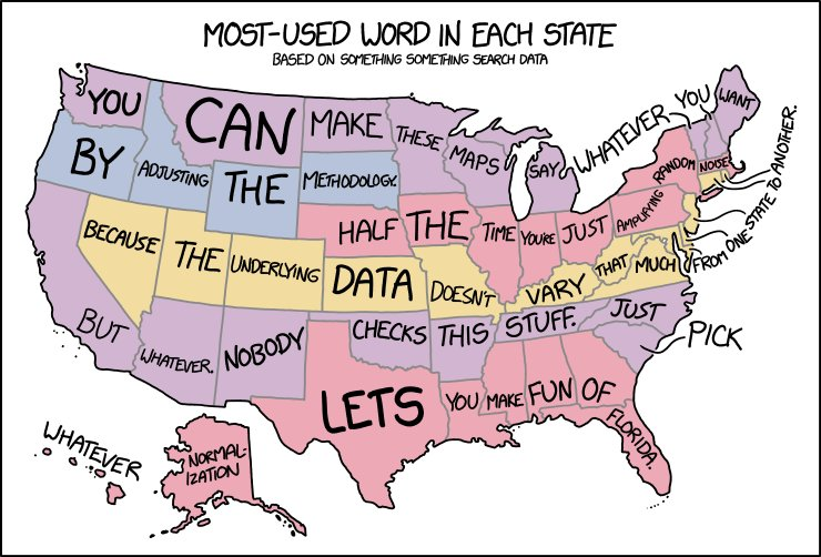 Most used words by US state Source: xkcd.com/1845/