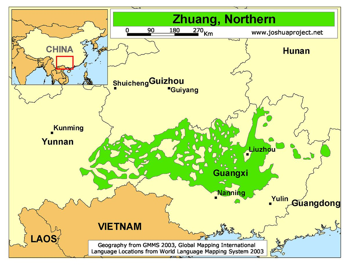 OnlMaps On Twitter Distribution Of Northern Zhuang Speakers In - World language mapping system